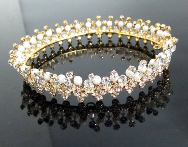 Bridal Tiara Wedding Rhinestone Golden Floral Bridal Small Crown Headpiece,Bride Tiara 222g