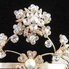 Bridal Wedding Rhinestone Tiara,Golden Floral Bridal Headpiece,Bride Tiara 615g