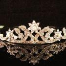 Bridal Wedding Rhinestone Tiara,Alloy floral Golden Floral Bridal Headpiece ,Bride Tiara 591g