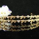 Bridal Wedding Rhinestone Tiara,Alloy Golden Twin Floral Bridal Headpiece ,Bride Tiara 534g