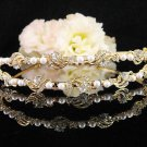 Bridal Wedding Rhinestone Tiara,Alloy Elegant Golden Vintage Bridal Headband ,Bride Tiara 115g