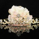 Bridal Wedding Rhinestone Tiara,Alloy Elegant Golden Vintage Bridal Headpiece ,Bride Tiara 579g