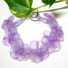 handmade fishing cord fancy floral purple acrylic plastic bead open end bracelet #1314