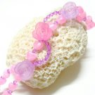 handmade floral pink pattern seed bead open end bracelet#1319p