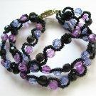handmade purple pattern 3 strings seed beaded open end bracelet#1301pu