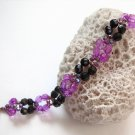 handmade purple pattern Acrylic Plastic beaded open end bracelet#1305 pu