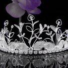 Huge Floral Wedding Tiara,Elegant Princess Silver Rhinestone Bride Headpiece Bridal tiara 4161s