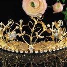 Huge Floral Wedding Tiara,Elegant Princess Golden Rhinestone Bride Headpiece Bridal tiara 4161g