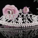Floral Wedding Tiara,Elegant Princess Silver Pearl Rhinestone Bride Headpiece Bridal tiara 4748