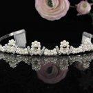 Floral Pearl Wedding Tiara,Elegant Princess Silver Rhinestone Bride Headband Bridal tiara 4928