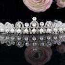 Vintage Pearl Wedding Tiara,Elegant Princess Silver Rhinestone Bride Headband Bridal tiara 5002