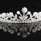 Pearl Floral Wedding Tiara,Elegant Princess Silver Rhinestone Bride Headband Bridal tiara 5020