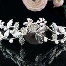 Handmade Stunning Wedding Tiara,Elegant Floral Silver Rhinestone Bride Headpiece Bridal tiara 5524