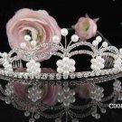 Stunning Wedding Tiara,Silver Rhinestone Daisy Pearl Bride Headpiece, Bridal tiara 802