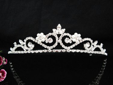 Stunning Floral Pearl Silver Plated Fairy-tale Rhinestone Bridal Tiara 6812Pl