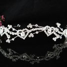 Sparkling Silver Plated Crystal and Rhinestone Sweetheart Accented Bridal Tiara 1429s