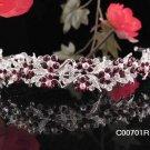 Alloy Daisy Rhodium Red Crystal and Rhinestone Bridal Tiara ;Wedding regal 701r
