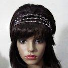 Crystal Bridal Tiara;Silver Triple Row Rhinestone Wedding Headband Comb 947s