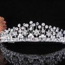 The Queen Silver Crystal Wedding Tiara,Floral Bridal Headpiece,Comb 439