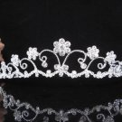 Elegance Silver Crystal Wedding Headpiece,Filigree Bridal Tiara,Comb 541s