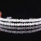 Crystal Twin Wedding Headband ;elegance Pink Silver Bridal Tiara 4056p