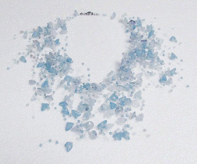 Acrylic Plastic Floating Necklace,Airy Irregular Multi strand Pattern Crochet Choker Necklace#pn2db