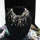 Acrylic Plastic Floating Necklace,Airy Irregular Multi strand Pattern Crochet Choker Necklace#pn9