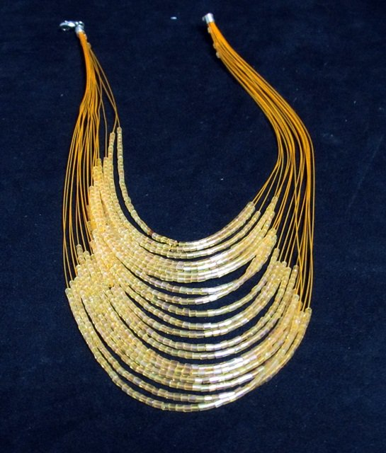 Glass Bugle Floating Wave Irregular Multi strand Pattern Crochet Choker Necklace#pn14 or