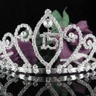 Crystal Happy Birthday Tiara Sweet 15 ;Silver Sweetheart Crown Regal #28
