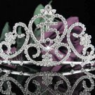 Crystal Happy Birthday Tiara Sweet 15 ;Silver Sweetheart Crown Regal #30