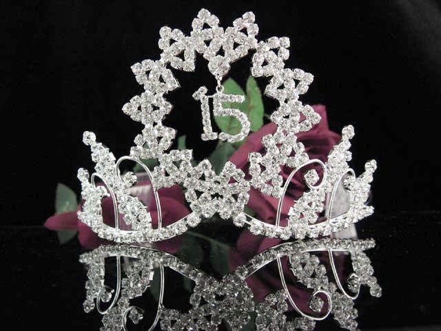 Happy Birthday Sweet 15 Crystal Princess Tiara;Silver Crown Regal #1