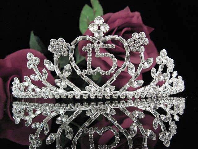 Happy Birthday Sweet 15 Crystal Princess Tiara;Silver Crown Regal #3