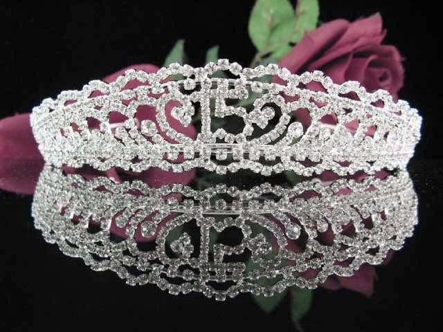 Sweet 15 Crystal Princess Happy Birthday Tiara;Silver Crown Regal #9