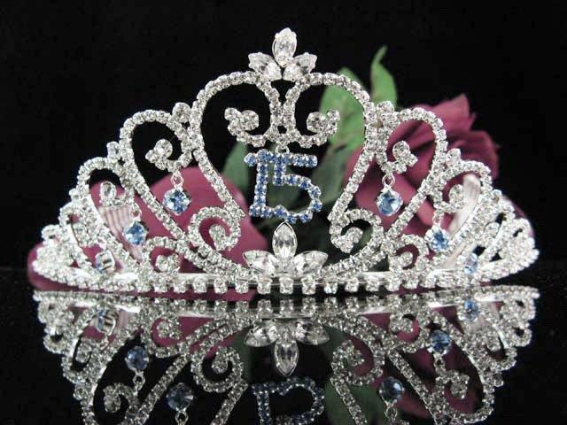 Sweet 15 Crystal Princess Happy Birthday Tiara;Silver Crown Regal #10
