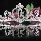 Sweet 15 Crystal Happy Rhinestone Birthday Tiara;Alloy Silver Sweetheart Crown Regal #25