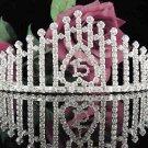Sweetheart Sweet 15 Crystal Happy Rhinestone Birthday Tiara;Silver Sweetheart Stone Crown Regal #20