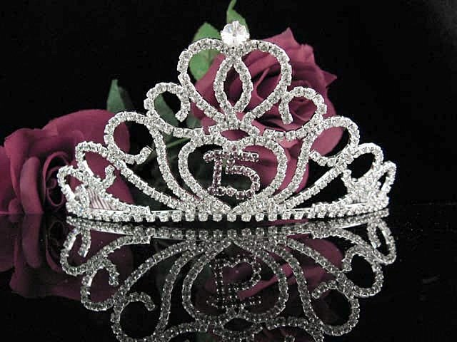 Huge Sweet 15 Crystal Happy Rhinestone Birthday Tiara;Silver Sweetheart Stone Crown Regal #17