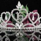 Sweet 16 Crystal Happy Rhinestone Birthday Tiara;Silver Sweetheart Stone Crown Regal #16