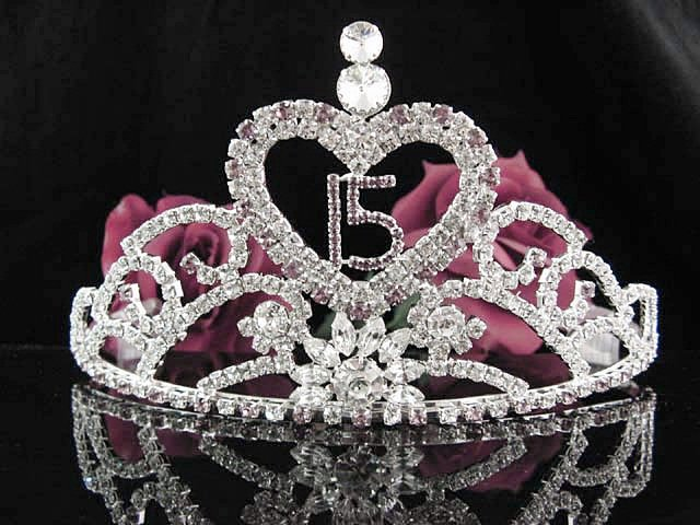 Huge Sweet 15 Crystal Princess Happy Birthday Tiara;Silver Crown Regal #13