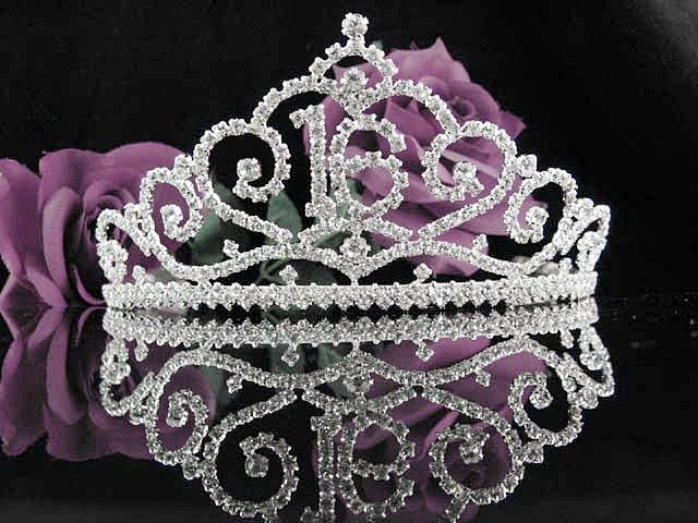 Sweet 16 Huge Crystal Happy Birthday Tiara ;Silver Sweetheart Crown Regal #33