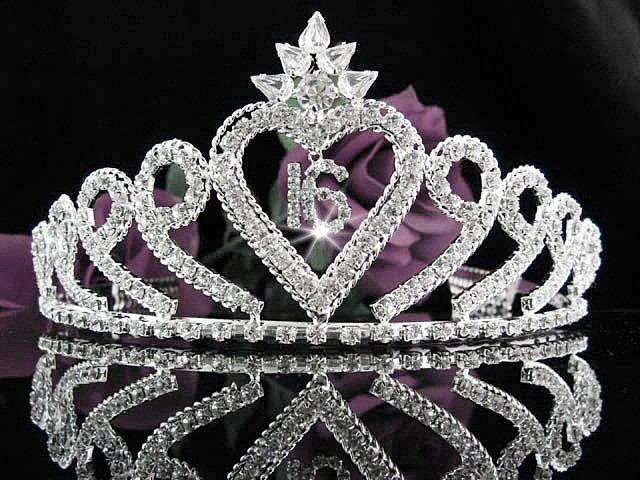 Sweet 16 Huge Crystal Happy Birthday Tiara ;Silver Sweetheart Crown Regal #35