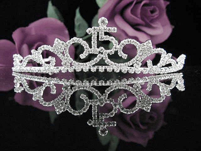 Sweet 15 Crystal Happy Birthday Tiara ;Delicate Silver Sweetheart Crown Regal #40
