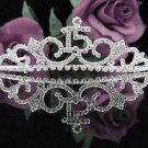 Sweet 15 Crystal Happy Birthday Tiara ;Delicate Silver Sweetheart Crown Regal #40