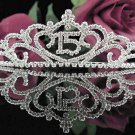 Sweet 15 Crystal Happy Birthday Tiara ;Delicate Silver Sweetheart Crown Regal #41