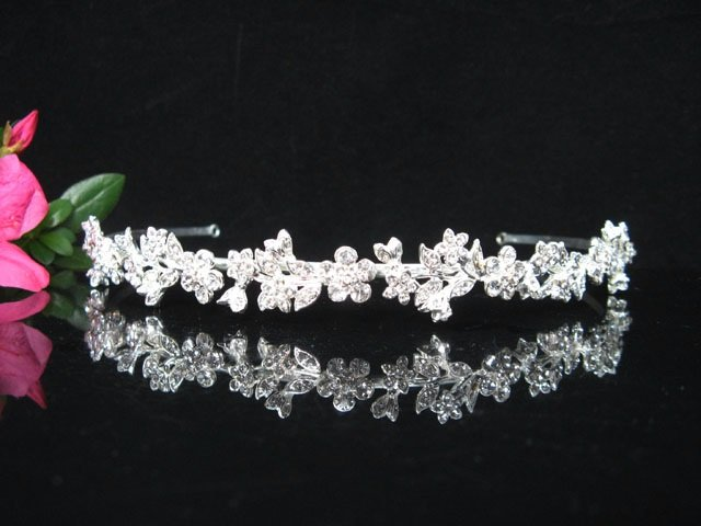 Alloy Floral Crystal Wedding Headband;elegance Silver Bridal Tiara cr1s