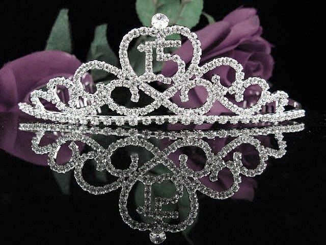 Sweet 15 Crystal Happy Birthday Tiara ;Delicate Silver Sweetheart Crown Regal #42