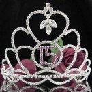 Huge Sweet 15 Crystal Happy Birthday Tiara ;Delicate Silver Sweetheart Crown Regal #43