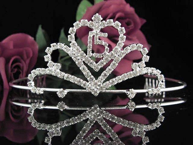 Cute Sweet 15 Crystal Happy Birthday Tiara ;Delicate Silver Sweetheart Crown Regal #44
