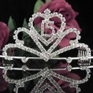 Cute Sweet 15 Crystal Happy Birthday Tiara ;Delicate Silver Sweetheart Crown Regal #44