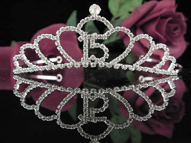 Cute Sweet 15 Crystal Happy Birthday Tiara ;Delicate Silver Sweetheart Crown Regal #45